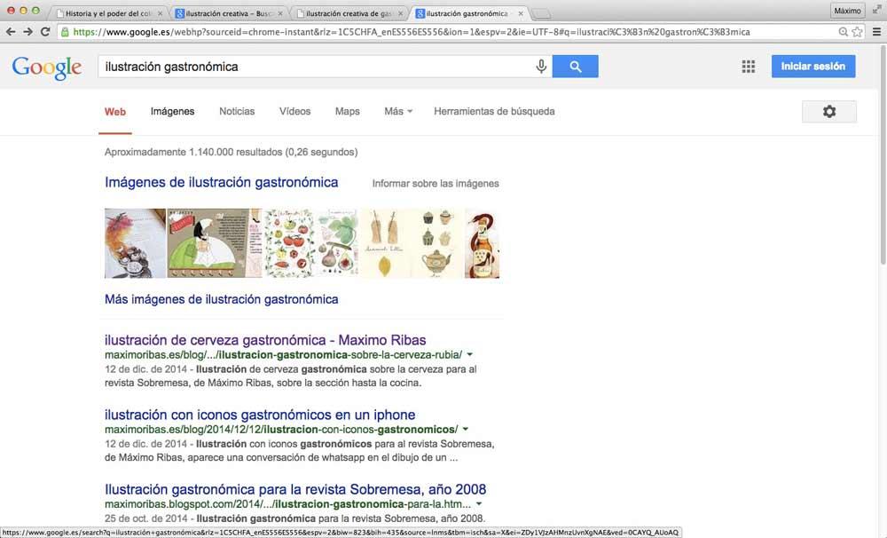 captura de pantalla de los resultados de búsqueda de la palabra clave ilustración gastronómica y sus resultados de posicionamiento eso